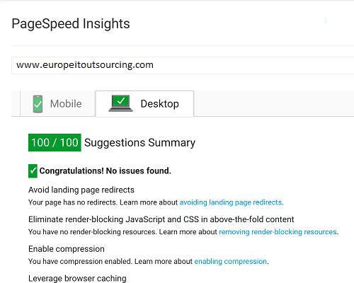Fast loading webdesign